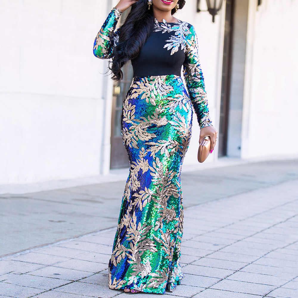 Vintage Grün Langarm Meerjungfrau Pailletten Kleid Sparkly Elegante Plus Größe Glänzend Partei Abend Afrikanische Lange Kleider für Frauen