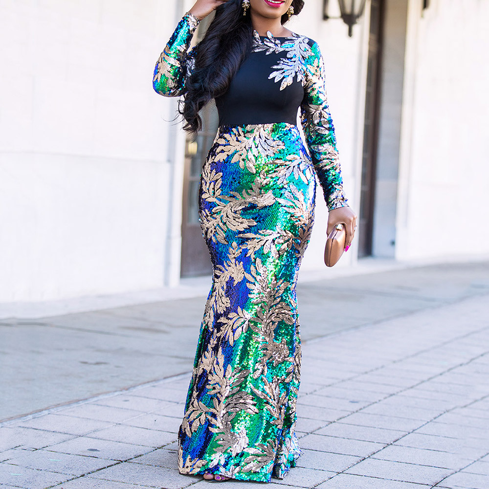 Vintage Green Long Sleeve Mermaid Sequins Dress Sparkly Elegant Plus Size Shiny Party Evening African Long Dresses For Women
