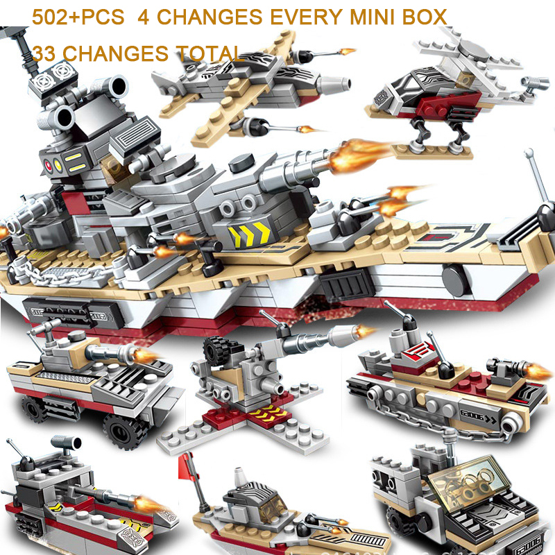 Toys For Children Compatible With LegoINGlys Battleship 502+PCS  8 IN 1 Warship Building Blocks Military Bricks With Mini Figure (11)