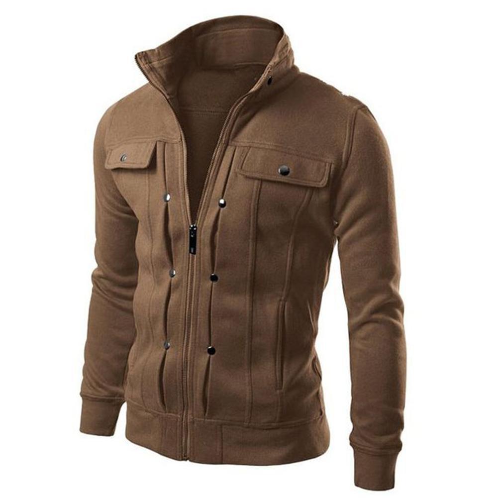 Jacket Men Autumn Winter Casual Coat Solid Color Men Stand Collar Slim Jacket Men Bomber Jacket Large Size Zip Button Pocket