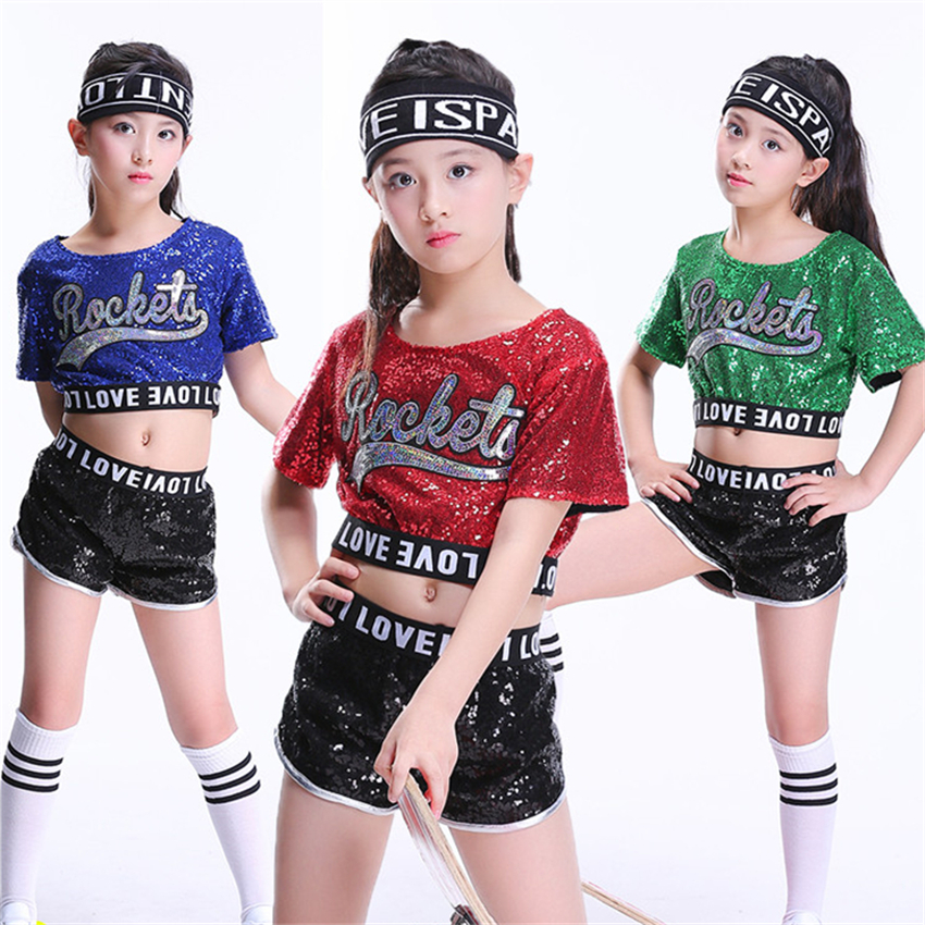 Kids Jazz Dance Costume Hiphop Dresses For Girls Stage Performance Cheerleader Costumes Holographic Sequin Top+Pant Set