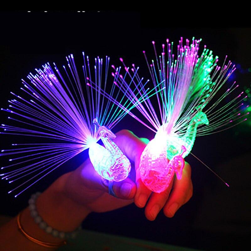 1PCS Luminous Ring Toy Fiber Optic Pea Design LED Light Source Fashion Shiny Festival Party Jewelry Girl Decoration Hot Products