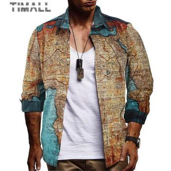 New Fashion Men Shirt Luxury Gold Printed Slim Fit Male Camisa Masculina Trend Long Sleeve Dress Shirts