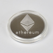 Gold/Silver/Double Plated Ethereum Coin commemorative Eth coin Collection Gift Physicalantique imitation home decoration 100pcs lot collectibles ethereum coin eth coin metal physical coin commemorative coins for souvenir