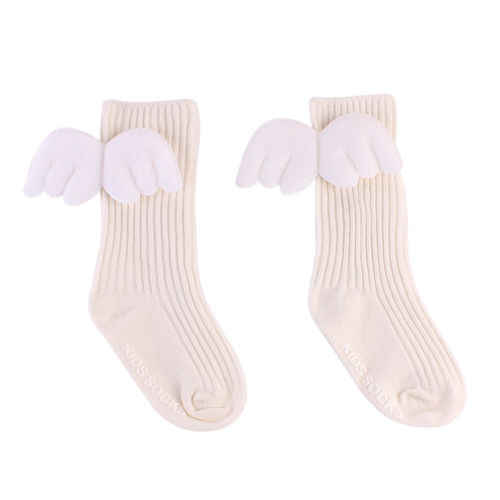 New Angel's Wing Baby Toddler Socks Infant Kid Cotton Warm Socks Knee Solid Fashion Cute 0-4Y