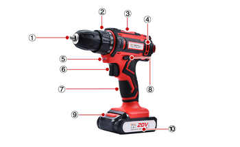 20V Electric Drill Double Speed Lithium Cordless Drill Household Multi-function Electric Screwdriver Power Tools