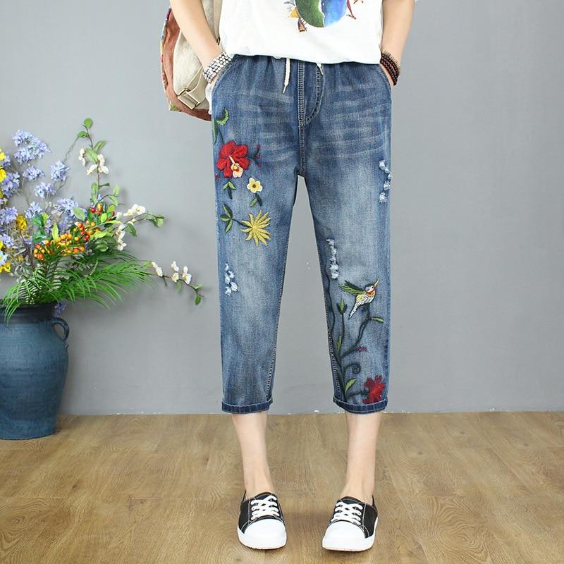 Plus Size Fashion Summer Women High Waist Jeans Calf Length Hole Ripped Denim Capri Slim Streetwear Casual Embroidered Pants