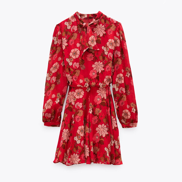 Red Floral Printed Chiffon Mini Dress Women Za 2020 Fashion Bow O-neck Pleated Long Sleeve Dress Woman Vintage Elegant Dresses 1