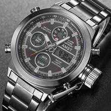 חדש מפורסם יוקרה מותג גברים עמיד למים מלא פלדה שעונים גברים של קוורץ אנלוגי LED שעון זכר ספורט שעון יד Relogio masculino