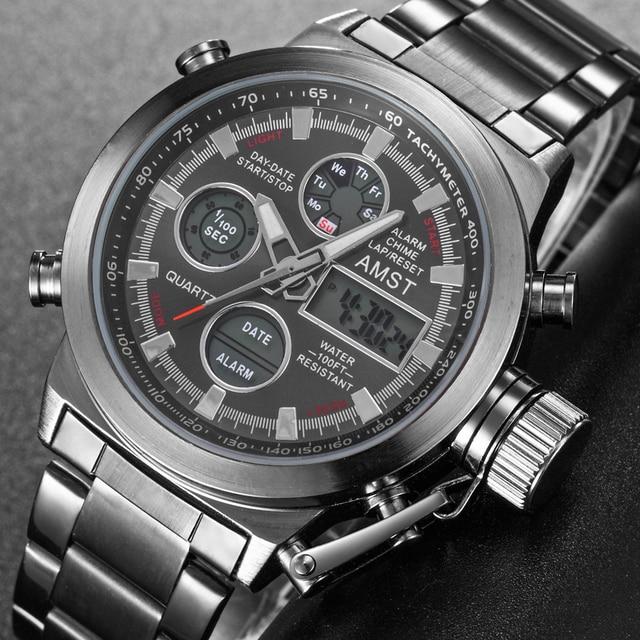 ใหม่ที่มีชื่อเสียงยี่ห้อผู้ชายกันน้ำเต็มรูปแบบนาฬิกาผู้ชายนาฬิกาควอตซ์นาฬิกา LED ชายกีฬานาฬิกาข้อมือนาฬิกา Relogio masculino