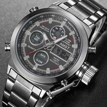 Reloj LED analógico de cuarzo para hombre, nuevo y popular, de marca de lujo, resistente al agua, de acero completo, reloj de pulsera deportivo Masculino