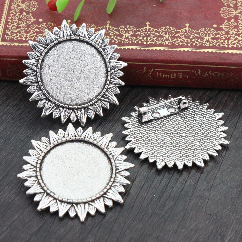 New Fashion 5pcs 25mm Inner Size Antique Silver Plated Brooch Baroque Style Cabochon Base Setting (D1-47)