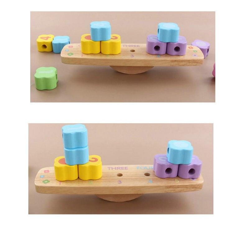 New arrive Multifunctional beading balance blocks Baby Montessori Early Training Beads Nesting Toys Kids Wooden Balancing Blocks