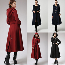 Women Double Breasted Button Elegant Coat Winter Warm Fashion Coat Casual Hoodie Trench Coat Red Military Coat Long Coat D30 cheap NoEnName_Null Polyester CN(Origin) 867745 Ages 18-35 Years Old Hooded Regular Full A-Line Adjustable Waist Solid