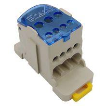 UKK80A din-рейка 1 в N Out клеммный блок распределительная Коробка Универсальная распределительная коробка электрический провод разъем гангбэй