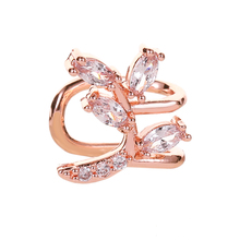 Cubic Zirconia Hollow Leaf Stud Earrings For Women New Fashion Jewelry Gold Silver Color Fashion Jewelry new arrival fashion jewelry triangle stud earring gold color aaa cubic zirconia rhinestone earrings for women