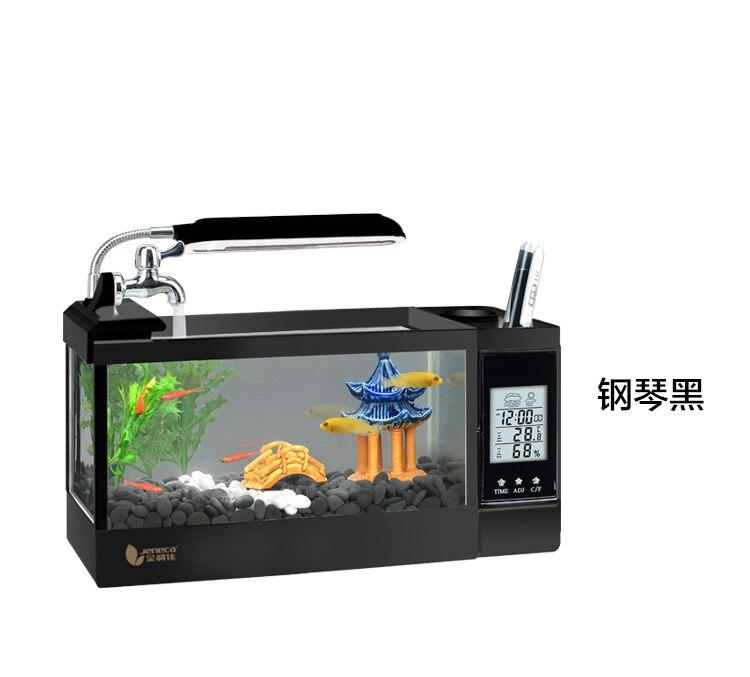 2/2. 5LMini Aquarium de bureau Aquarium avec lumière LED écran LCD calendrier et horloge acuarios escritorio aérobie décor à la maison