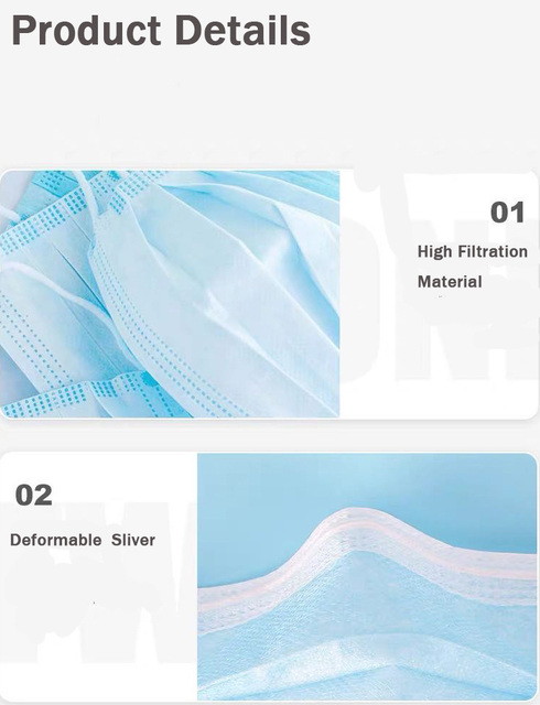 100Pcs 3 layer Disposable Elastic Mouth Soft Breathable Blue Soft Breathable Flu Hygiene Child Kids Face Mask Dropshipping 4