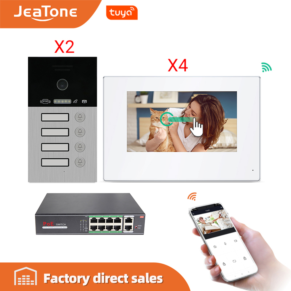 IP Door Phone WIFI Video Intercom Video Doorbell 7'' Touch Screen For 4 Separate Apartments/8 Zone Alarm Support Smart Phone IOS