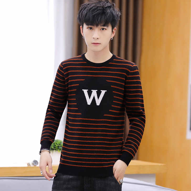 2019 Men Fall Round Collar Stripe Sweater Sweater Teenagers Cultivate One's Morality