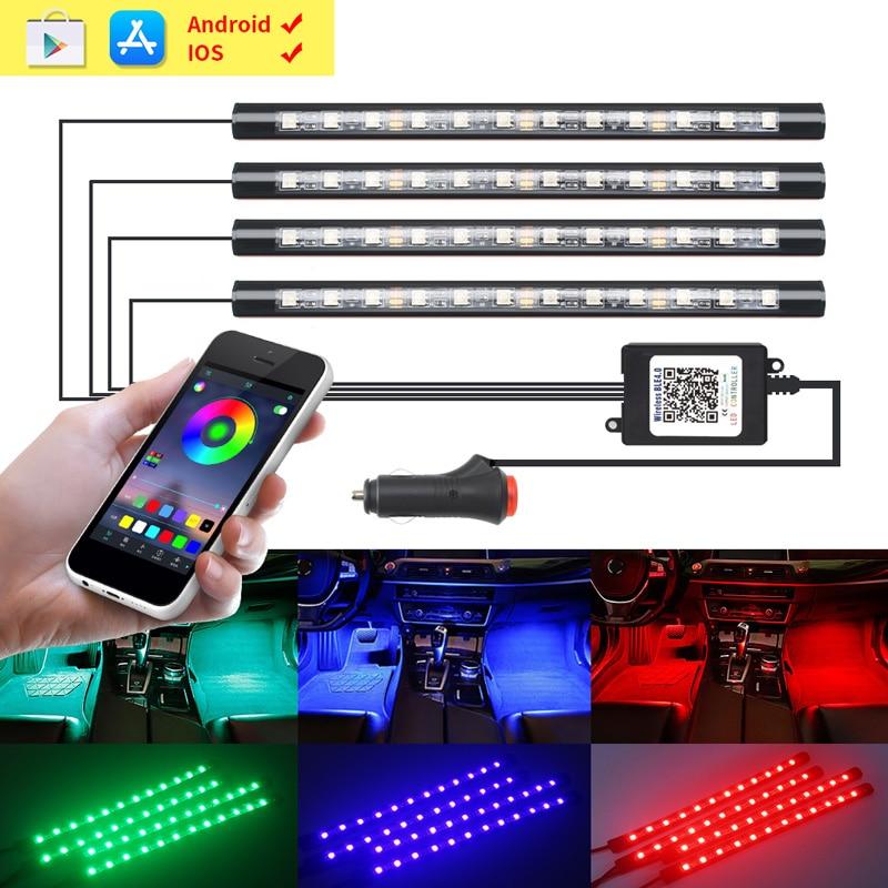 4 pçs carro led tiras decorativas lâmpadas flexíveis rgb telefone app rf controle remoto led luzes interiores