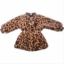 LILIGIRL Girls Fur Jacket Leopard Baby Kids Cotton Outwear C