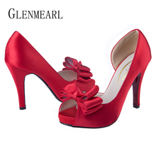 Купить с кэшбэком Women Wedding Shoes High Heels Woman Pumps Butterfly -knot Fish mouth Party Shoes Platform Spring Autumn Dress Shoes Plus Size