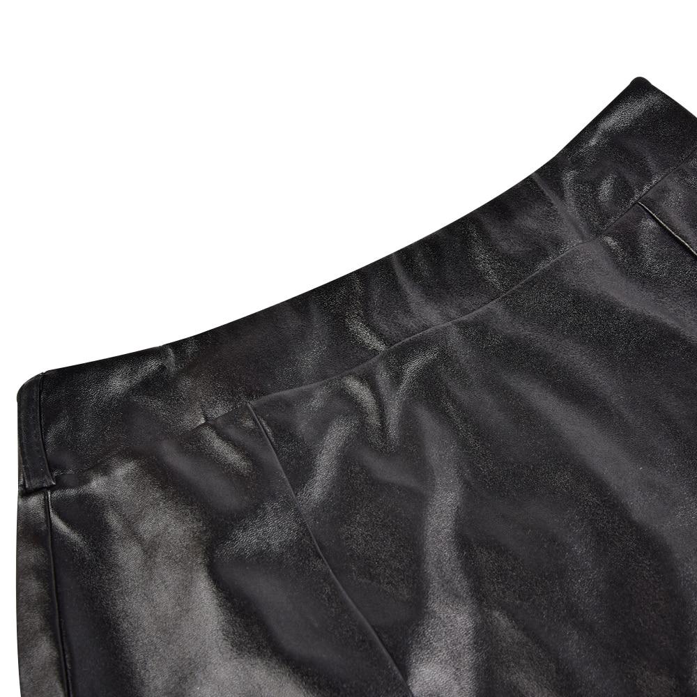 Jupe sexy moulante courte en cuir avec ceinture