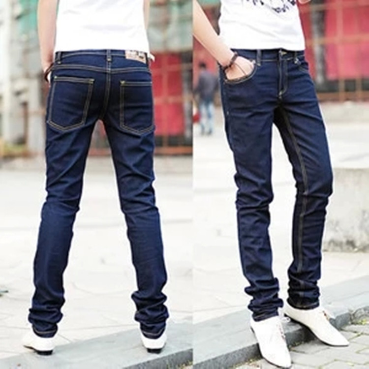 Spring And Autumn New Style Korean-style Men'S Wear MEN'S Jeans Slim Fit Pants Jeans Solid Color Skinny Pants