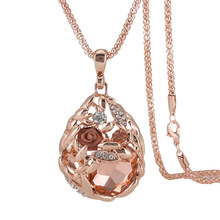 Women's Heart Sweater Chain Gold Flower Crystal Pendant Long Necklace Vintage Hollow Out CZ Rhinestone Popcorn Necklaces Woman