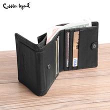 Cobbler Legend Genuine Leather Women Wallets Mini Short Coin Purse Card Holder Female Black Luxury Small Wallet Men Mini Clutch цена
