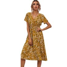 Yellow Vintage Floral Print Women Summer Dress 2021 Casual V-neck Short Sleeve A-line Chiffon Beach Midi Dresses Vestidos