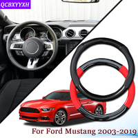 Car Carbon Fiber Leather Car Steering Wheel Cover Car Steering wheel Hubs Automobiles Accessories Fit For Ford Mustang 2003 2019