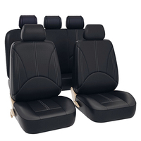 ODOMY 9Pcs Waterproof Car Seat Covers PU Leather Auto Dustproof Protector Seat Case for Vehicle Black Cover Luxury