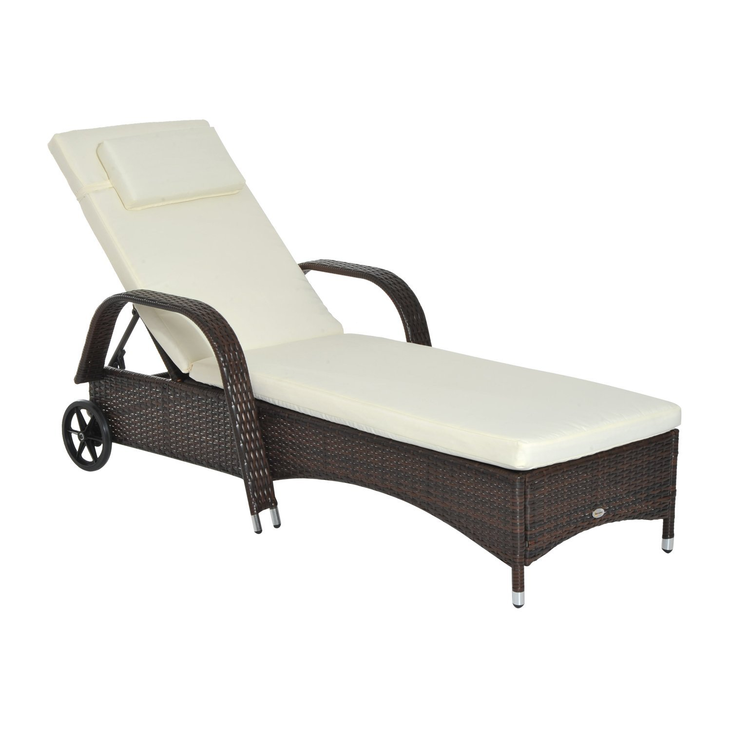 Outsunny Lounger Beach Sundresses Relax With Wheels Padded Rattan Garden Chair Brown