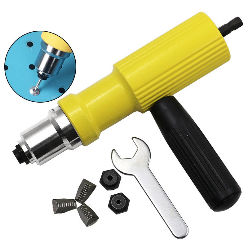 Electric Rivet Nut Gun Set Riveting Adapter Insert For Cordless Drill Riveter Gun Nut Tool Riveting Drill Adapter 2.4mm-4.8mm