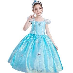 4-10T niñas Elsa vestido Snow Queen ropa dibujos animados fiesta Cosplay traje niños Puff manga purpurina capa vestido de princesa con capa