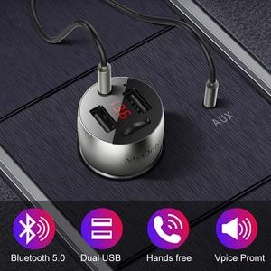 Image 1 - 3.5mm AUX Bluetooth 5.0 FM Transmitter Wireless Modulator 4.8A Dual USB Car Charger Handsfree Car MP3 Player Aluminum alloy Body