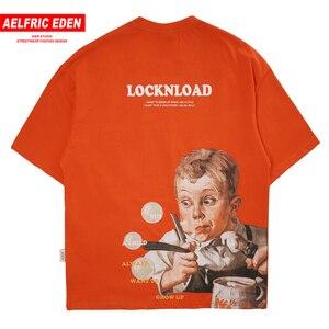 Aelfric eden hip hop camiseta streetwear masculino menino impressão harajuku de grandes dimensões manga curta engraçado solto algodão camisetas masculino topos laranja
