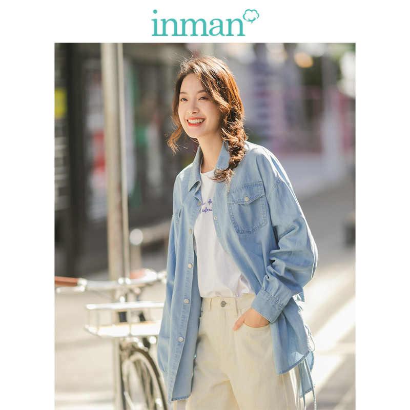 אינמן 2020 אביב הגעה חדשה 100% כותנה תורו למטה צווארון לשרוך ארוך שרוול נשים ג 'ינס חולצה