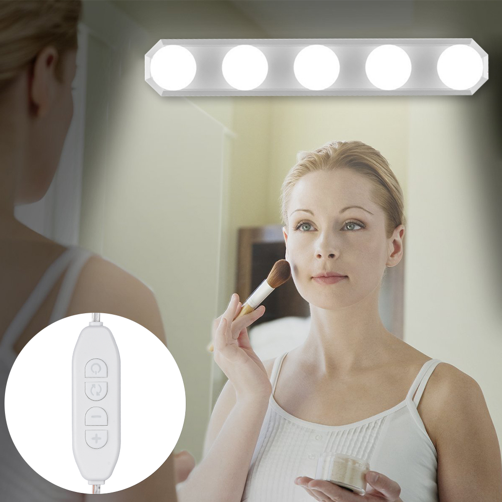 LED Hollywood  Mirror Light Cabinet Bulb Led 5V Makeup Vanity Mirror Lights 5 Bulbs Kit For Make Up Dressing Table Bathroom