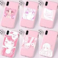Hot Pink Manga Cute Japanese Anime Cartoon Kawaii Japan Girl Phone Case For iPhone 7 8 6splus 11 12Pro Mini Max XS XR SE Cover