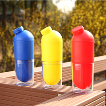 Clearance Sale 500ml Creative Pill Shape Plastic Cartoon Bottle Sport Hiking Running Cycling Drink Outdoor Water Gift
