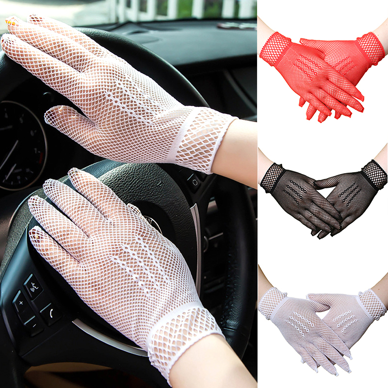 Summer Mesh Fishing Nets Gloves For Women Sexy Anti-Uv Slip-Resistant Driving Gloves Hollow Out Fishing Net Grid Punk Gloves
