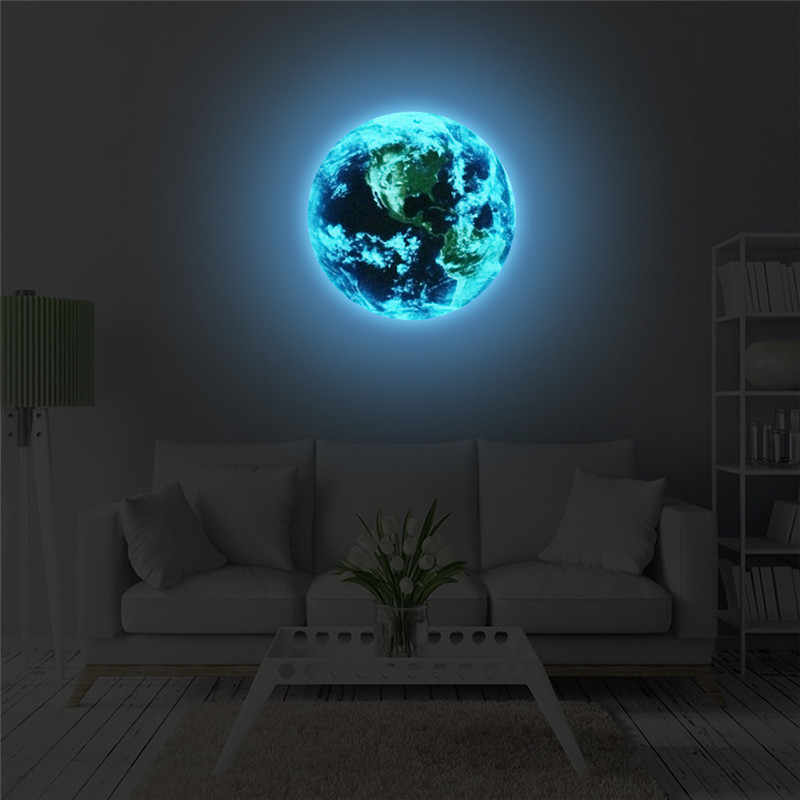 New 1PCS Luminous Stickers blue earth Cartoon DIY 3D Wall Stickers for kids rooms bedroom wall sticker Home decor Living Room