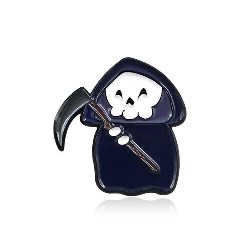 Jubah Hitam Tengkorak Hantu Bros Kapak Sabit Horor Tengkorak Sihir Penyihir Enamel Pin Kemeja Denim Lencana Halloween Gothic Punk Hadiah
