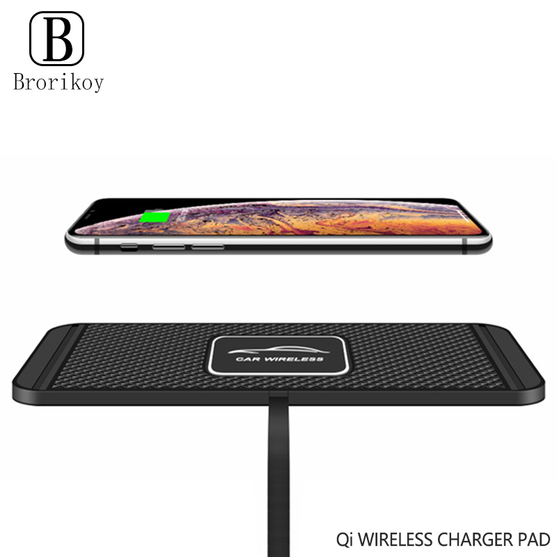 10W 7.5W 5W Car Qi Wireless Fast Charging Dock Station Non-slip Silicone Pad for Samsung iPhone Xiaomi Huawei Wireless Charger