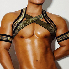 With 2 Arm Band Mens Harness Bondage Fetish Shoulder Body Chest Muscle Belt Straps Arnes Hombre