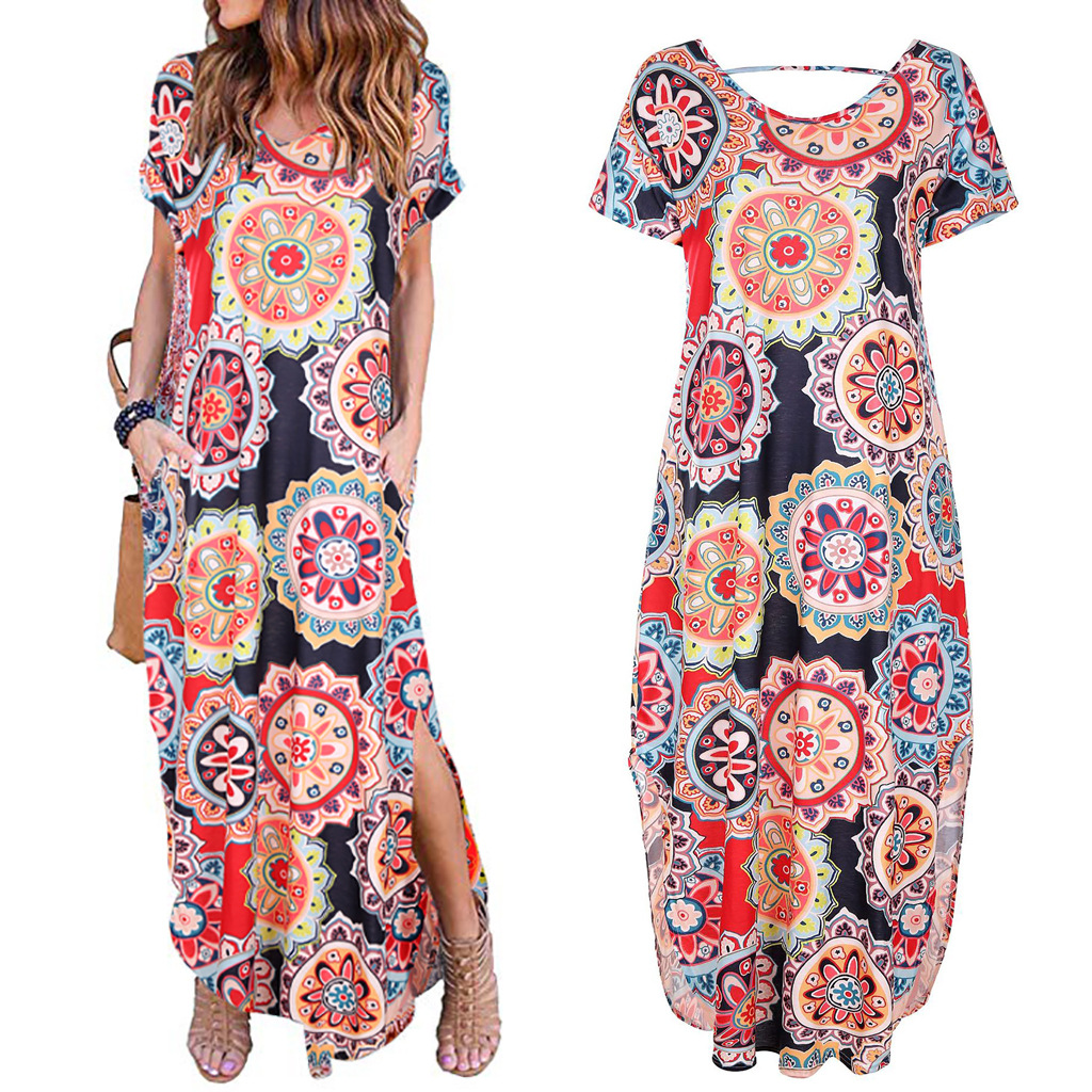 2021 Spring New Printed Ladies Short Sleeve Pullover V-Neck Knitted Long Skirt Casual Dress  woman dress  dresses for women