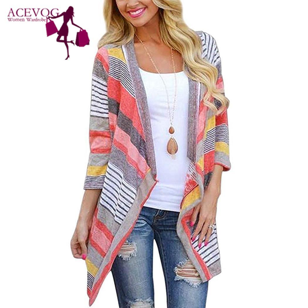 ACEVOG Long Sleeve Cardigan Women Loose Sweater Knitted Stripe  Asymmetrical Collarless Outwear Feminino Menina кардиган